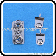 Iron battery contact with nickel plated two spring on one plate single positive battery contact