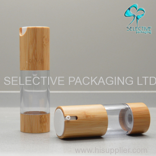 clear cosmetic plastic bamboo airless pump top bottle 30ml 50ml