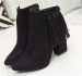 Laides ankle strap pointy toe dress boots with tassels