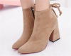 Faux suede chunky heel pointy toe women boots