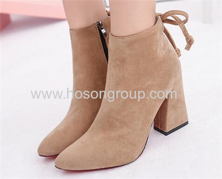 Faux suede chunky heel pointy toe dress ladies boots