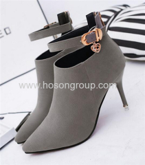 Stiletto heel ankle strap pointy toe ladies dress boots