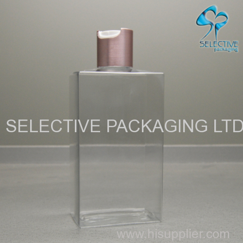 300ML square transparent PETG plastic squeeze lotion bottle with aluminum twist press cap