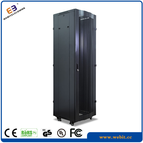 floor standing network cabinet with curved mesh door