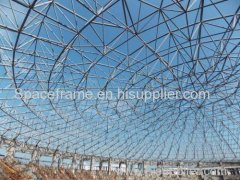 Economical prefabricated corrugated space frame dome shed coal storage