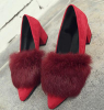Women chunky heel pointy toe dress shoes with fur