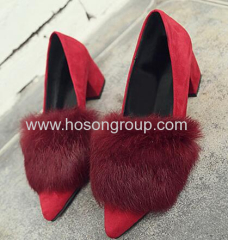 Ladies chunky heel pointy toe dress shoes with fur