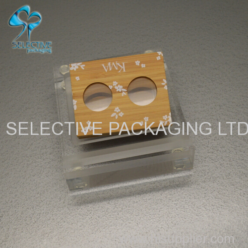 Fancy clear acrylic cosmetic display stand for tube compact wooden box