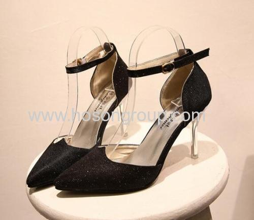 Shiny glittering pointed toe ankle strap dress ladies sandals
