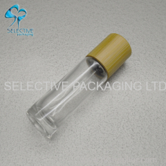 clear 10ml bamboo screw cap top roll on glass perfume bottle