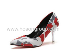 Ladies pstchwork pointy toe high heel dress shoes
