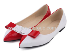 White and red bowtie flat dress ladies shoes