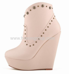 Women clip on studded wedge heel ankle dress shoes