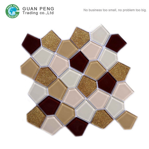 Bathroom Ties Star Shaped Design Pentagon Ceramic Mosaic Wall Tiles