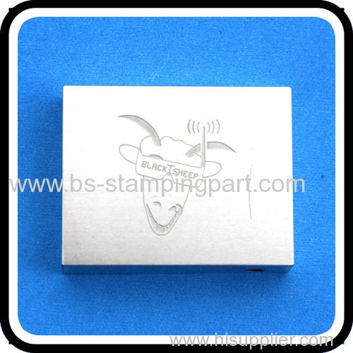 metal stamping shield cover with stamped logo
