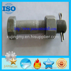 Customized Special Hex Head Bolt With Hole(as drawing) High tensile hex bolt with nut and pin grade 8.8 10.9 12.9 Zinc