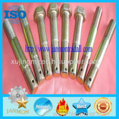 Customized Special Hex Head Bolt With Holes in it(as drawing) Yellow zinc plated bolt Grade 8.8 10.9 12.9 hex head bolt