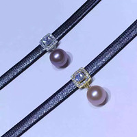 Sliver Fur collar freshwater pearl pendant