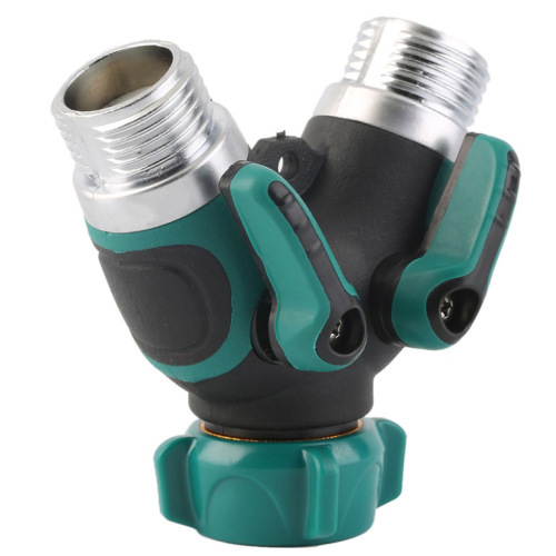 Metal 2-way garden water hose splitter