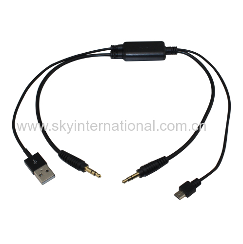 USB 3.5MM AUX Interface Cable Adapter To BMW & MINI for Samsung HTC Sony