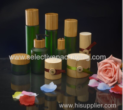 frosted green wooden lids transparent cosmetic glass lotion bottle cream jar