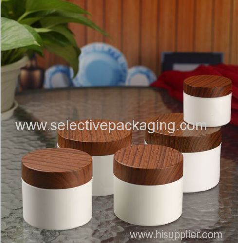 PP bottle plastic cream jar cosmetic container with wood lids