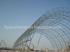 Steel space frame roof system building coal storage shed