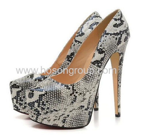 High heel snake texture ladies party dress shoes