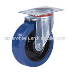 Swivel elastic rubber caster