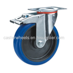 Elastic rubber casters with brake