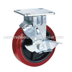 Fixed caster with side brake