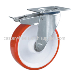 Heavy duty casters with brake