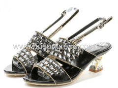 Women open toe rhinestone chunky heel sandals