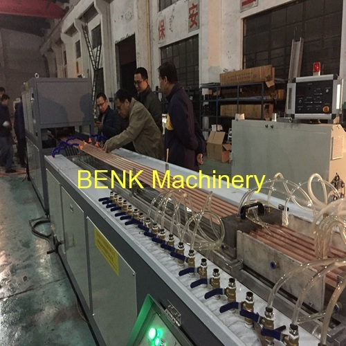 BENK machinery successfully tested PVC profile extrusion machine with punching machine