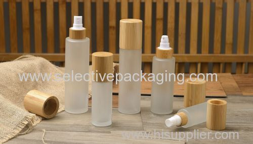 Fancy frosted cosmetic glass body lotion bottle with wood lids