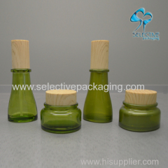cosmetic glass lotion bottles wtp wooden cap