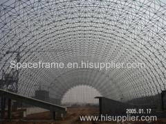 Steel structure space frame for dry coal shed