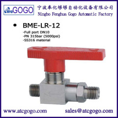 2 npt solid modulating high pressure ball valve 100 to 420bar carbon stainless steel brass DN 12mm