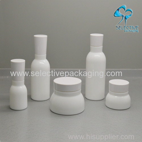 empty white opal glass cosmetic lotion bottle