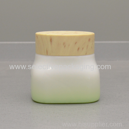 cosmetic opal glass jar wooden lid