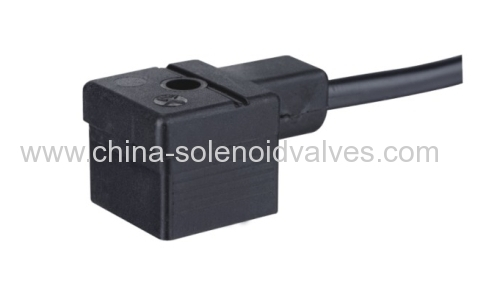 DIN43650A black connector with leading wire