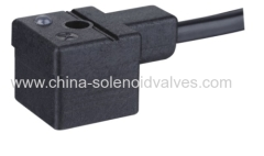 DIN43650B black connector with LED without VDR with leading wire
