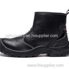 Long Cut Black Leather Labor Work Shoe