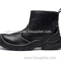 Long Cut Black Leather Waterproof Work Shoe