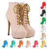 mulheres hot selling women lace up high heel boots