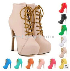 High quality hot selling women lace up high heel boot