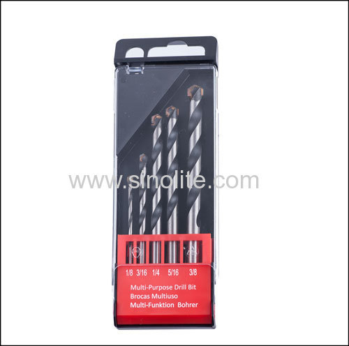 "Multi-purpose drill bit set inch sizes 5PCS 1/8"" 3/16"" 1/4"" 5/16"" 3/8"""