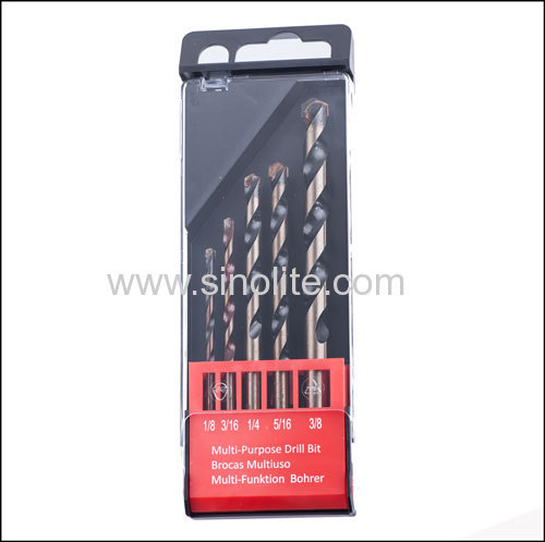 Multi-purpose drill bits 5pcs/set 4-5-6-8-10mm in plastic box