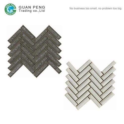 Ice Porcelain Herringbone Mosaic Wall Tile