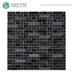 Square Ceramic Rectangle China Glass Mix Natural Stone Mosaic Tile Backsplash